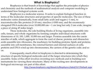 What is Biophysics?
