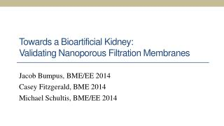 Towards a Bioartificial Kidney:  Validating Nanoporous Filtration Membranes
