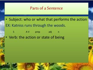 Parts of a Sentence