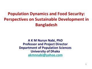 Population Dynamics and Food Security: Perspectives on Sustainable Development in Bangladesh