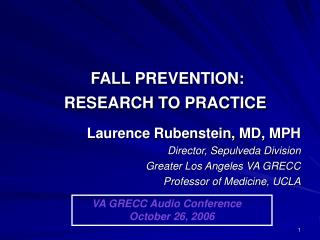 FALL PREVENTION:  RESEARCH TO PRACTICE