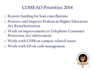 COHEAO Priorities 2014