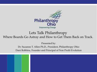 Lets Talk Philanthropy  Where Boards Go Astray and How to Get Them Back on Track.