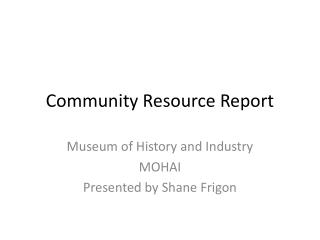 Community Resource Report