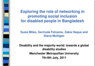 Exploring the role of networking in promoting social inclusion  for disabled people in Bangladesh
