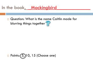 In the book ,   _Mockingbird_____________