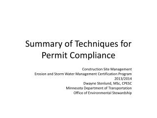 Summary of Techniques for Permit Compliance