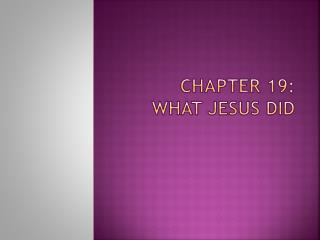 Chapter 19:  What Jesus Did