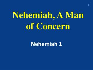 Nehemiah, A Man of Concern