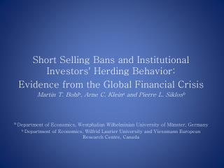 Short Selling Bans and Institutional Investors' Herding Behavior: