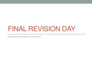 Final Revision day