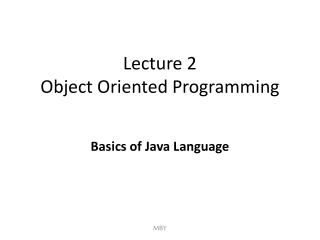 Lecture 2 Object Oriented Programming