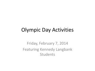 Olympic Day Activities