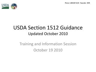 USDA Section 1512 Guidance  Updated October 2010
