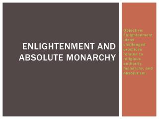 Enlightenment and Absolute monarchy