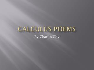 Calculus Poems