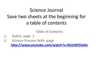 Science  Journal Save two sheets at the beginning for a table of contents