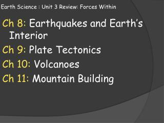 Earth Science : Unit 3 Review: Forces Within