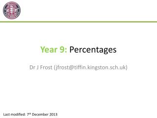 Year 9:  Percentages