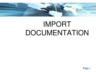 IMPORT DOCUMENTATION