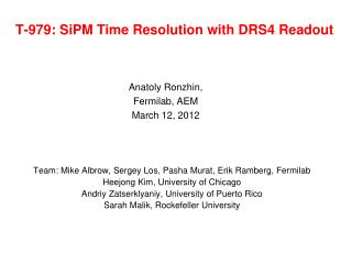 T-979: SiPM Time Resolution with DRS4 Readout