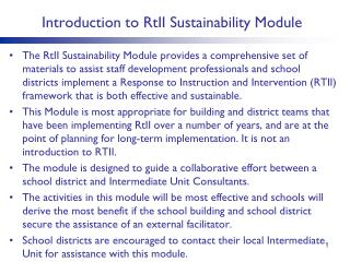 Introduction to  RtII  Sustainability Module