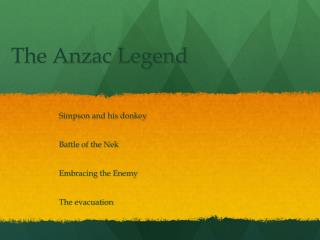 The Anzac Legend