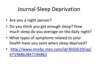 Journal-Sleep Deprivation
