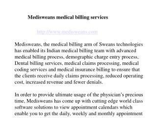 Medisweans now embrace advanced medical billing services..