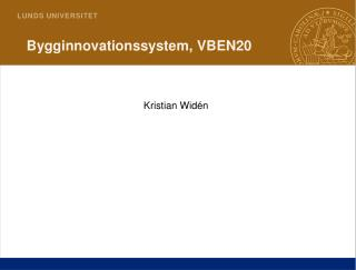 Bygginnovationssystem ,  VBEN20