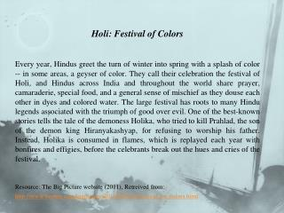 Holi : Festival of Colors