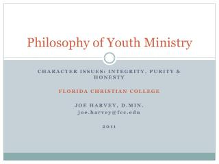 Philosophy of Youth Ministry