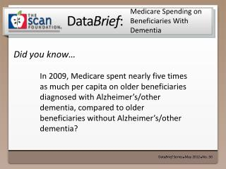 Medicare Spending on Beneficiaries With Dementia