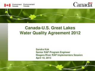 Canada-U.S.  Great Lakes  Water Quality Agreement 2012