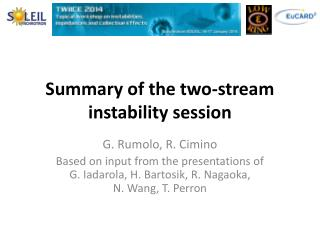 Summary of the two-stream instability session