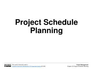 Project Schedule Planning
