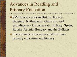 Advances in Reading and Primary Education