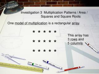 Investigation 3  Multiplication Patterns / Area /                        Squares and Square Roots