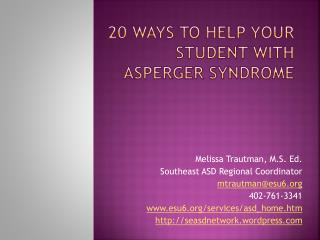 20 Ways to help your student with Asperger Syndrome