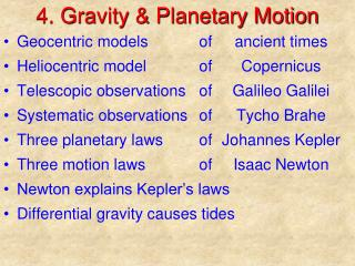4. Gravity & Planetary Motion