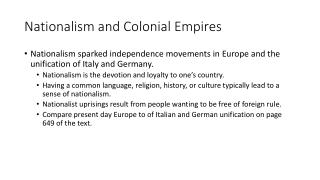 Nationalism and Colonial Empires