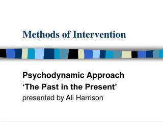 Methods of Intervention