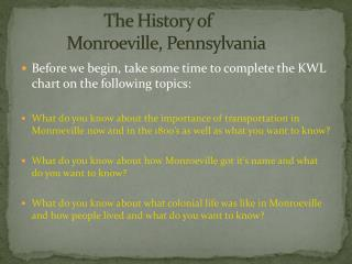 The History of             Monroeville, Pennsylvania