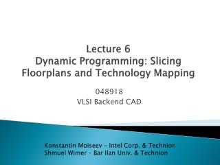 Lecture 6 Dynamic Programming: Slicing  Floorplans  and Technology Mapping