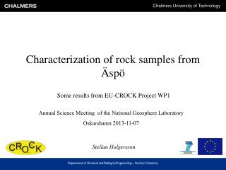 Characterization  of rock  samples  from  Äspö