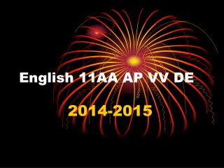 English 11AA AP VV DE