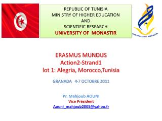 Ppt Republic Of Tunisia Ministry Of Higher Education And Scientific Research University Of Monastir Powerpoint Presentation Id 2236551