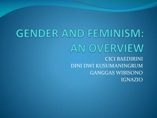 GENDER AND FEMINISM: AN OVERVIEW