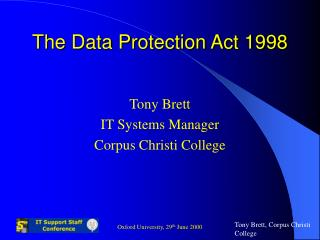 The Data Protection Act 1998