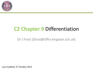 C2 Chapter 9  Differentiation